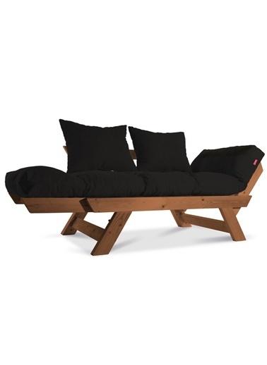 Dekoro Kombin Wood Ahşap Iki Kişilik Kanepe, Bahçe Kanepesi, Yataklı Kanepe (Gürgen/Siyah) Siyah